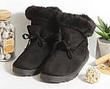 0375 Угги замшевые на натуральном меху. Цвет черный, 39 размер - 25 см по стельке, фото 3