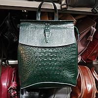 """Кожаный рюкзак-сумка (трансформер) с теснением под рептилию """"Крокодил Green"""""""