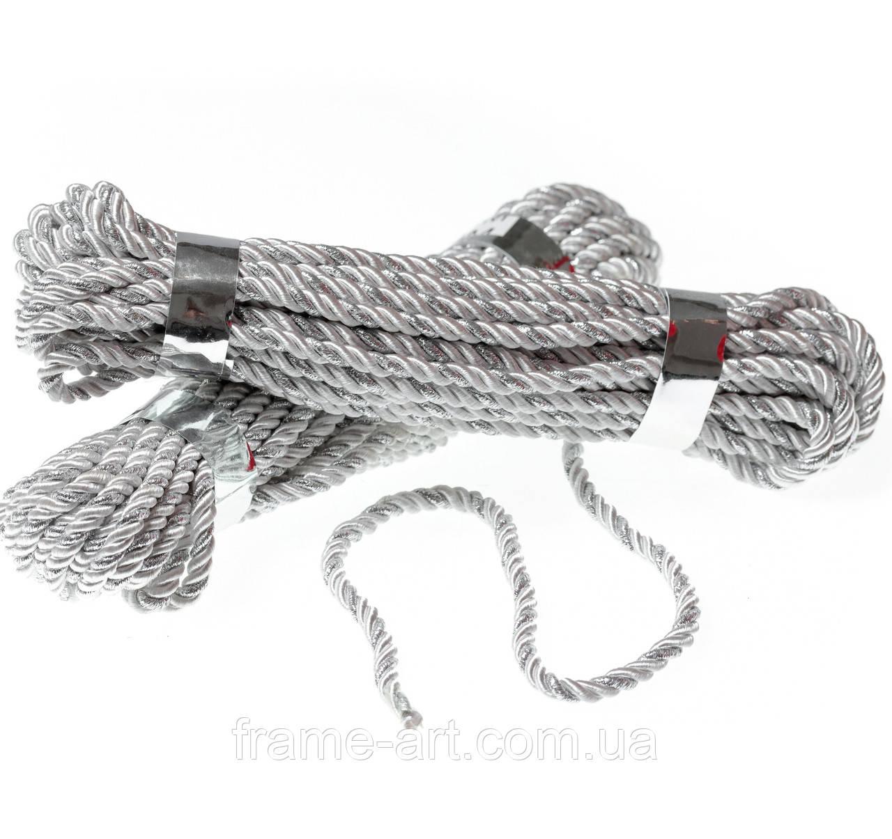 Шнур декоративный 5мм Белый с серебром
