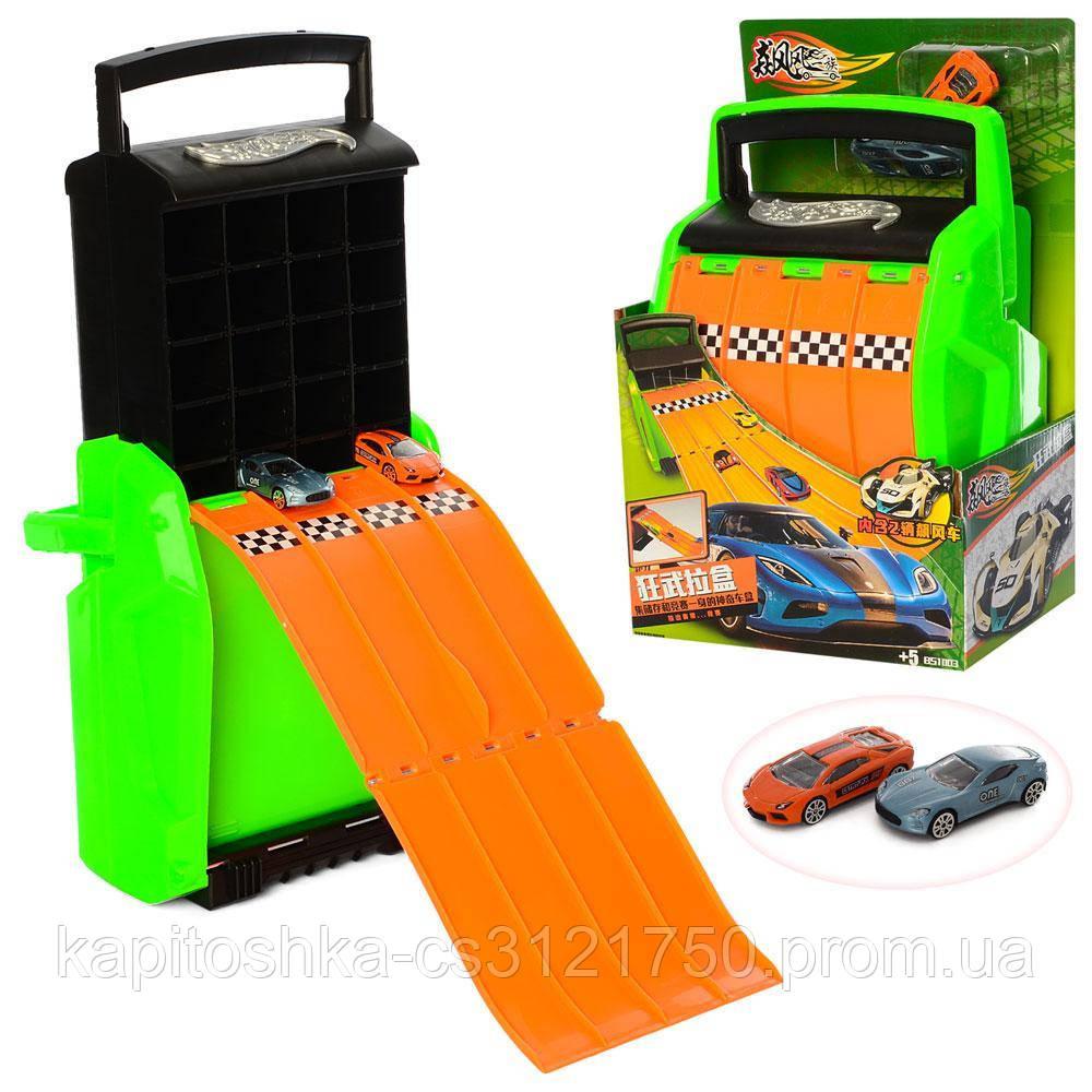 Детский гоночный трек-чемодан. 2 машинки. Материал: пластик.  1003