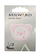 "Тканевая нашивка на одежду ""Медвежонок"" Milward 4,5х3см Розовый, Белый"