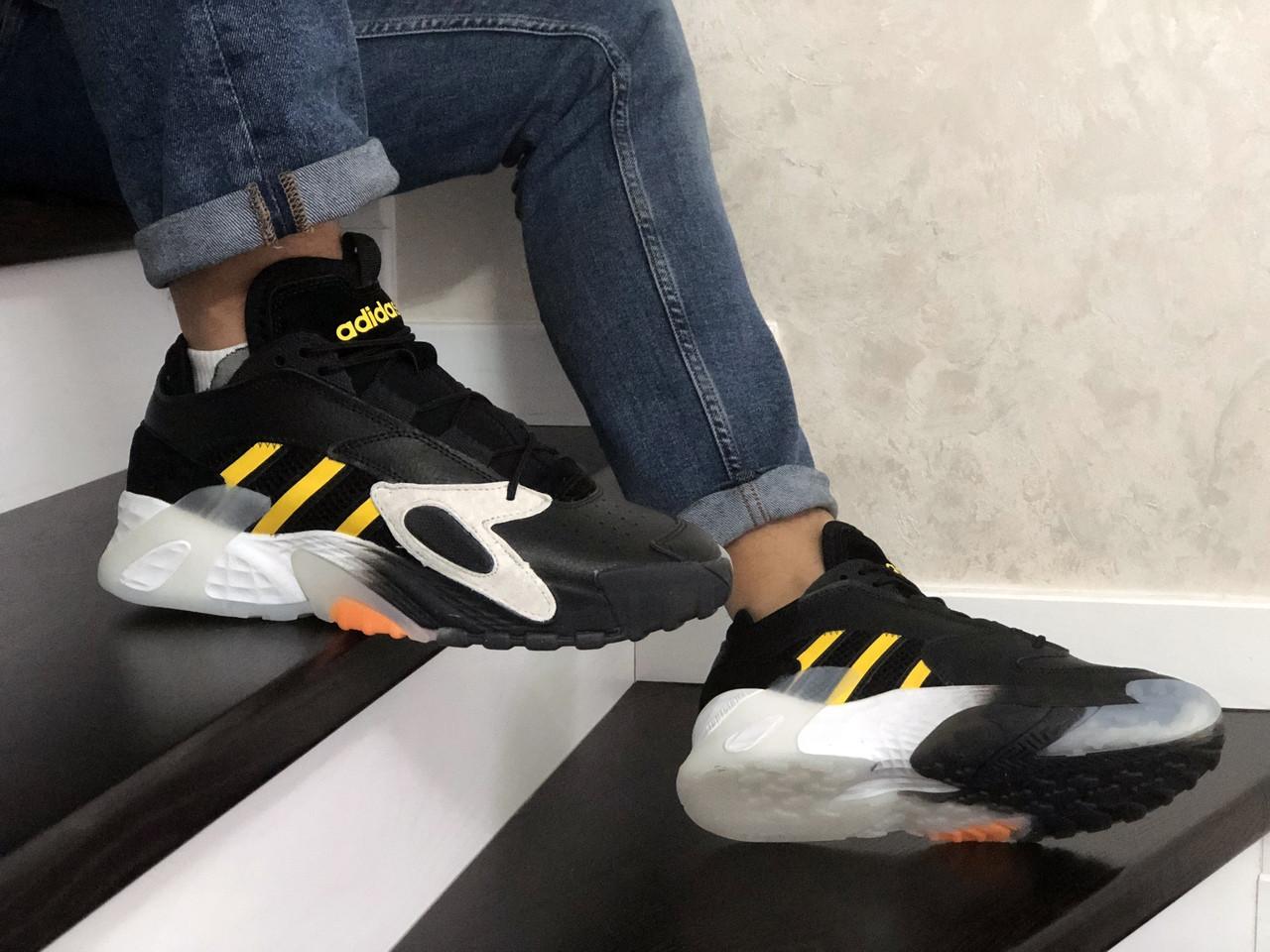 Мужские кроссовки Adidas Streetball (черно-белые с желтым)