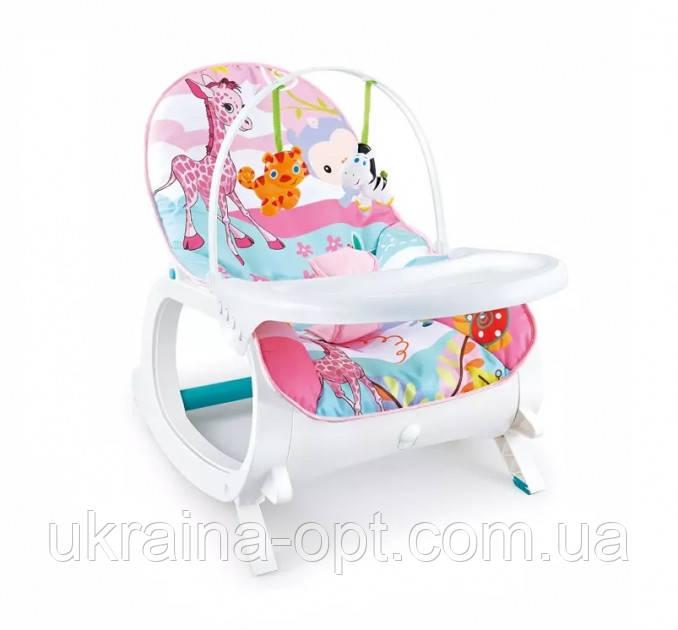 Детское кресло-качалка 2в1. Веселые мелодии. Функция вибрации. Для  деток от рождения и до 3 лет. 7288