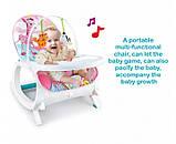 Детское кресло-качалка 2в1. Веселые мелодии. Функция вибрации. Для  деток от рождения и до 3 лет. 7288, фото 2