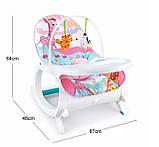 Детское кресло-качалка 2в1. Веселые мелодии. Функция вибрации. Для  деток от рождения и до 3 лет. 7288, фото 3
