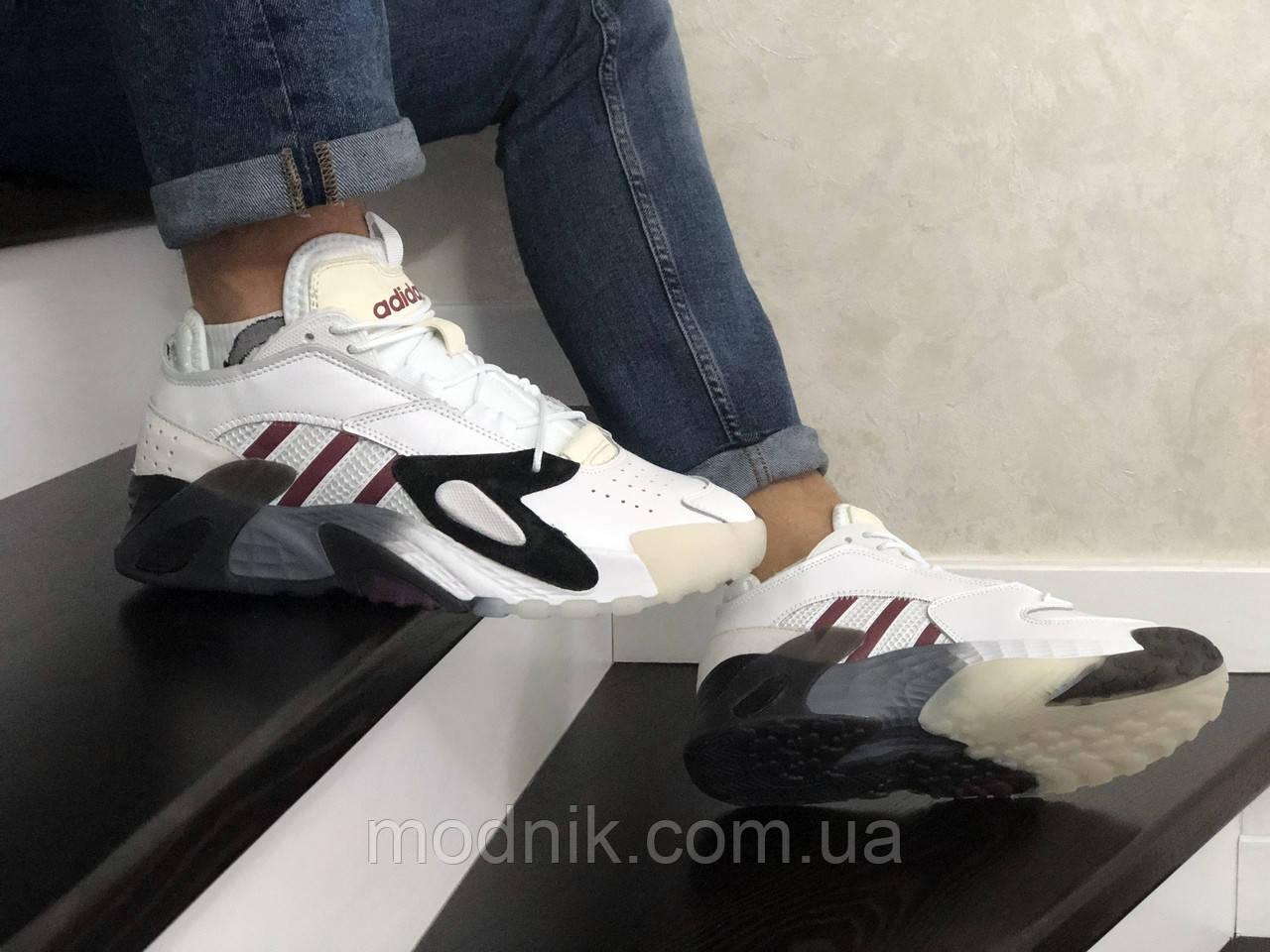 Мужские кроссовки Adidas Streetball (бело-бордовые)