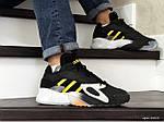 Мужские кроссовки Adidas Streetball (черно-белые с желтым), фото 3