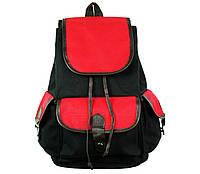 Рюкзак красно черный холщовый