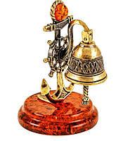 """Авторская коллекционная статуэтка с натуральным янтарем """"Рында, якорь и штурвал"""""""
