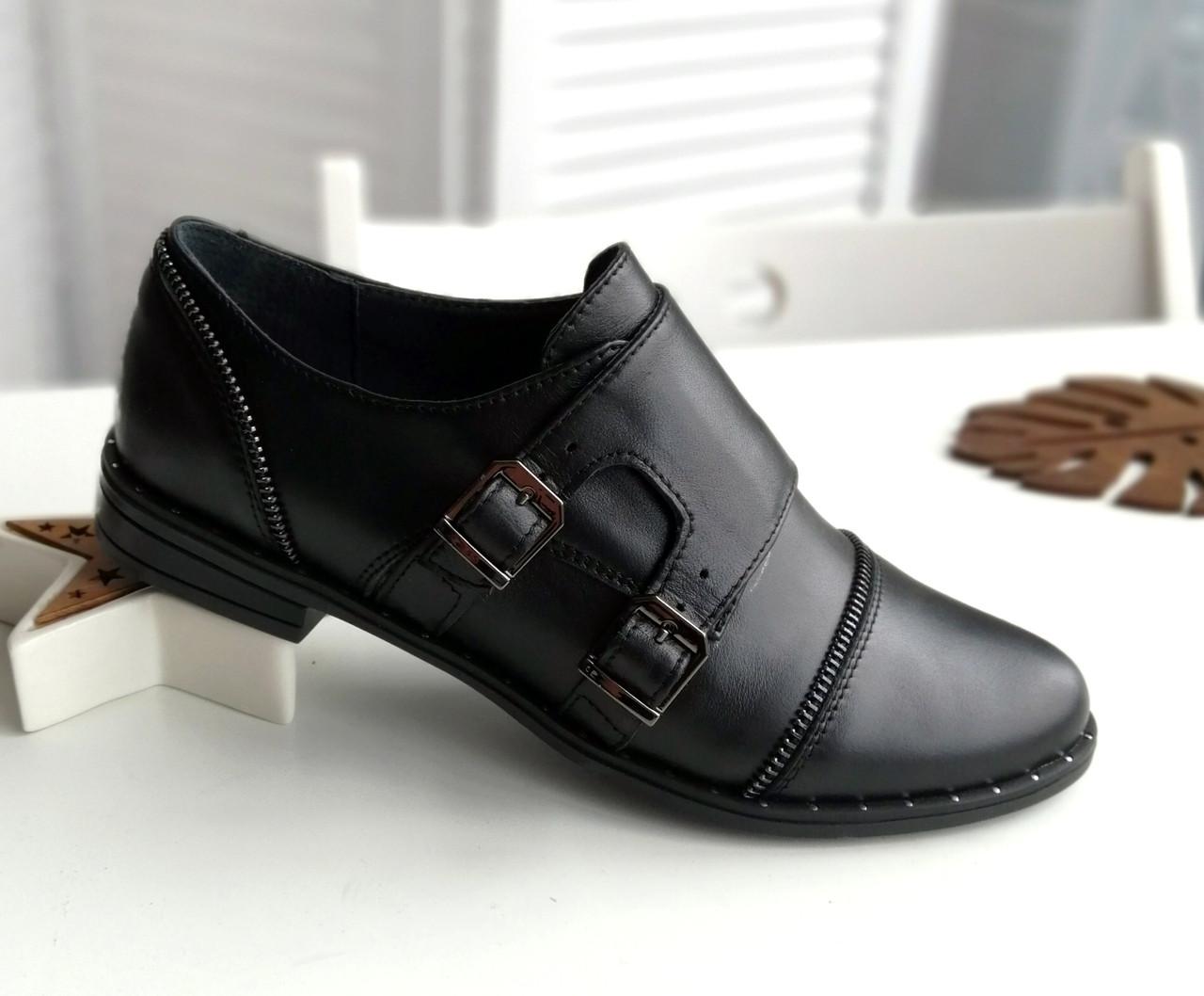 Кожаные женские туфли низкий ход