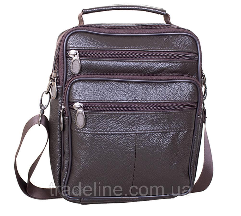 Мужская кожаная сумка Dovhani Brown402023  23 х 18 х 7см Коричневая