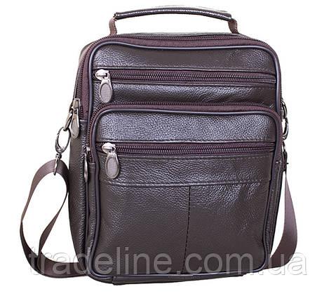 Мужская кожаная сумка Dovhani Brown402023  23 х 18 х 7см Коричневая, фото 2