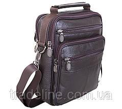 Мужская кожаная сумка Dovhani Brown402023  23 х 18 х 7см Коричневая, фото 3