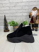 Зимние ботинки из натуральной замши или кожи на овчине в стиле Баленсиага без застежки