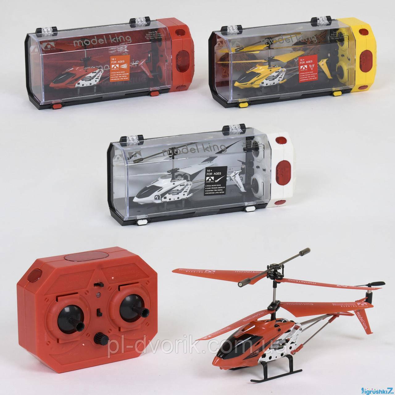Вертолет 33008 (24/4) 3 вида, р/у, гироскоп, аккум, 3-х канальный пульт ДУ, мет+пластик, в кор-ке Длина: 28