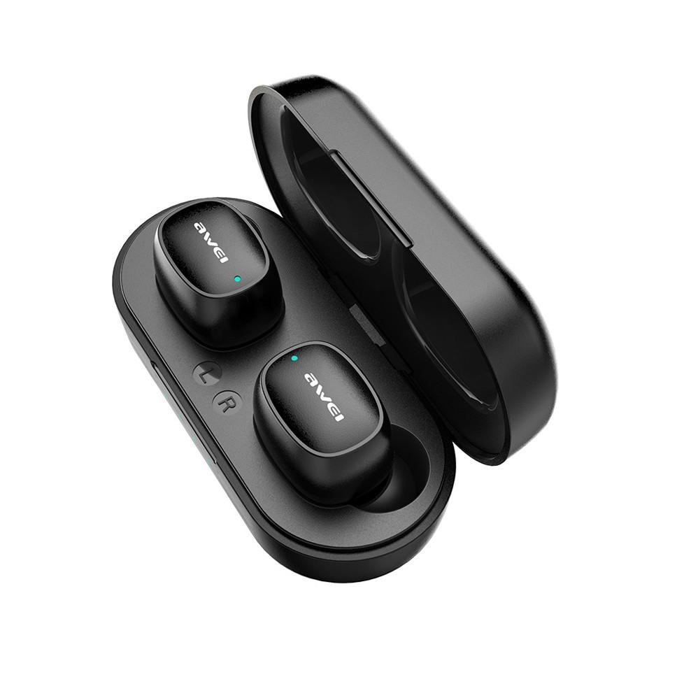 Наушники Awei T13 черные с блоком для зарядки беспроводные Bluetooth наушники