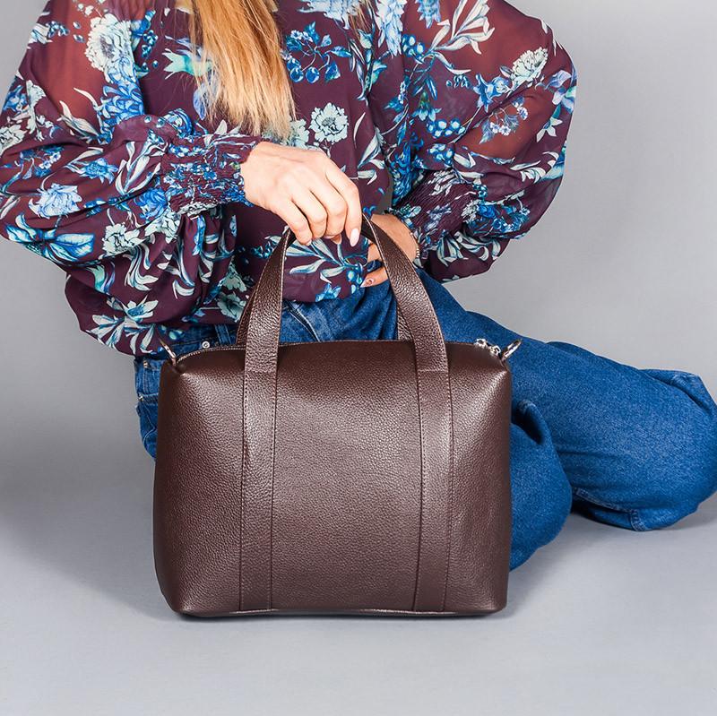 Кожаная коричневая женская сумка с двумя ручками, на молнии, цвет любой на выбор