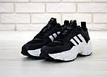 Чоловічі кросівки Adidas Consortium x Naked Magmur Runner чорні з білим. Фото в живу. Репліка, фото 3