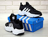 Чоловічі кросівки Adidas Consortium x Naked Magmur Runner чорні з білим. Фото в живу. Репліка, фото 6