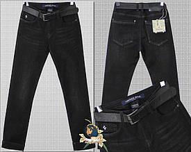 Джинсы мужские утеплённые классические зауженные чёрного цвета 29 размер