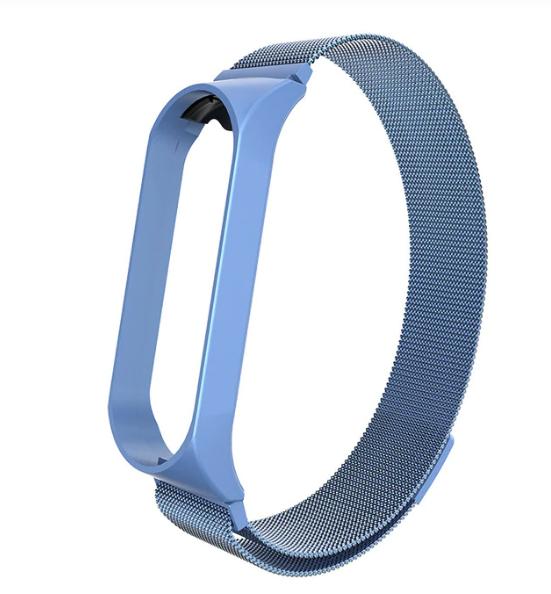 Металлический браслет с магнитной застёжкой цвет голубой для фитнес трекера Xiaomi mi band 4 / 3
