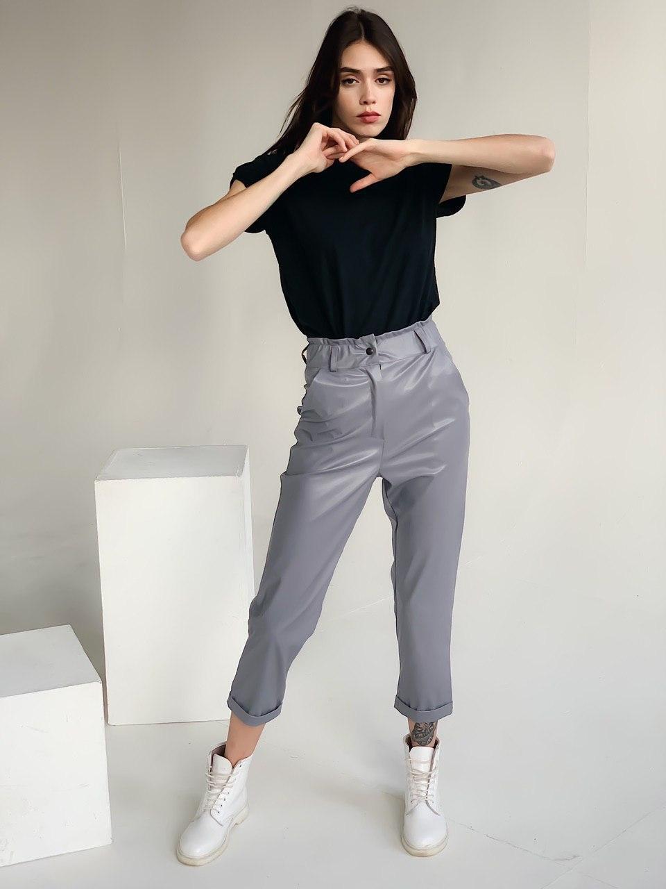 Женские серые брюки из эко кожи с высокой талией р. S-M, L-XL