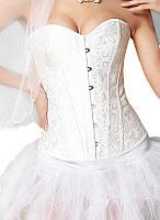 Женский классический корсет жаккард белый, фото 1