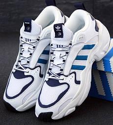 Мужские кроссовки Adidas Consortium x Naked Magmur Runner белые с синим. Фото в живую. Реплика
