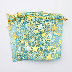 Подарочные мешочки для изделий 10 шт 741105 голубые с золотыми звездами  размер 12х10 см