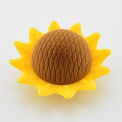 """Футляр """"Подсолнух"""" для колец-серег 741023 желтый бархат, размер  7*6 см"""