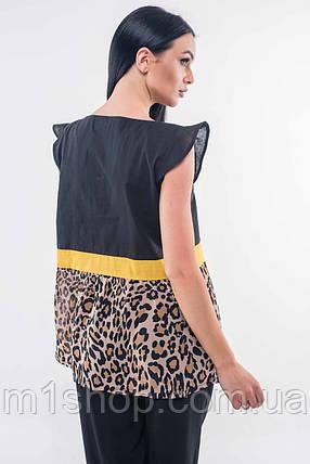 Женская черная блузка с леопардовым принтом (Лео ri), фото 2
