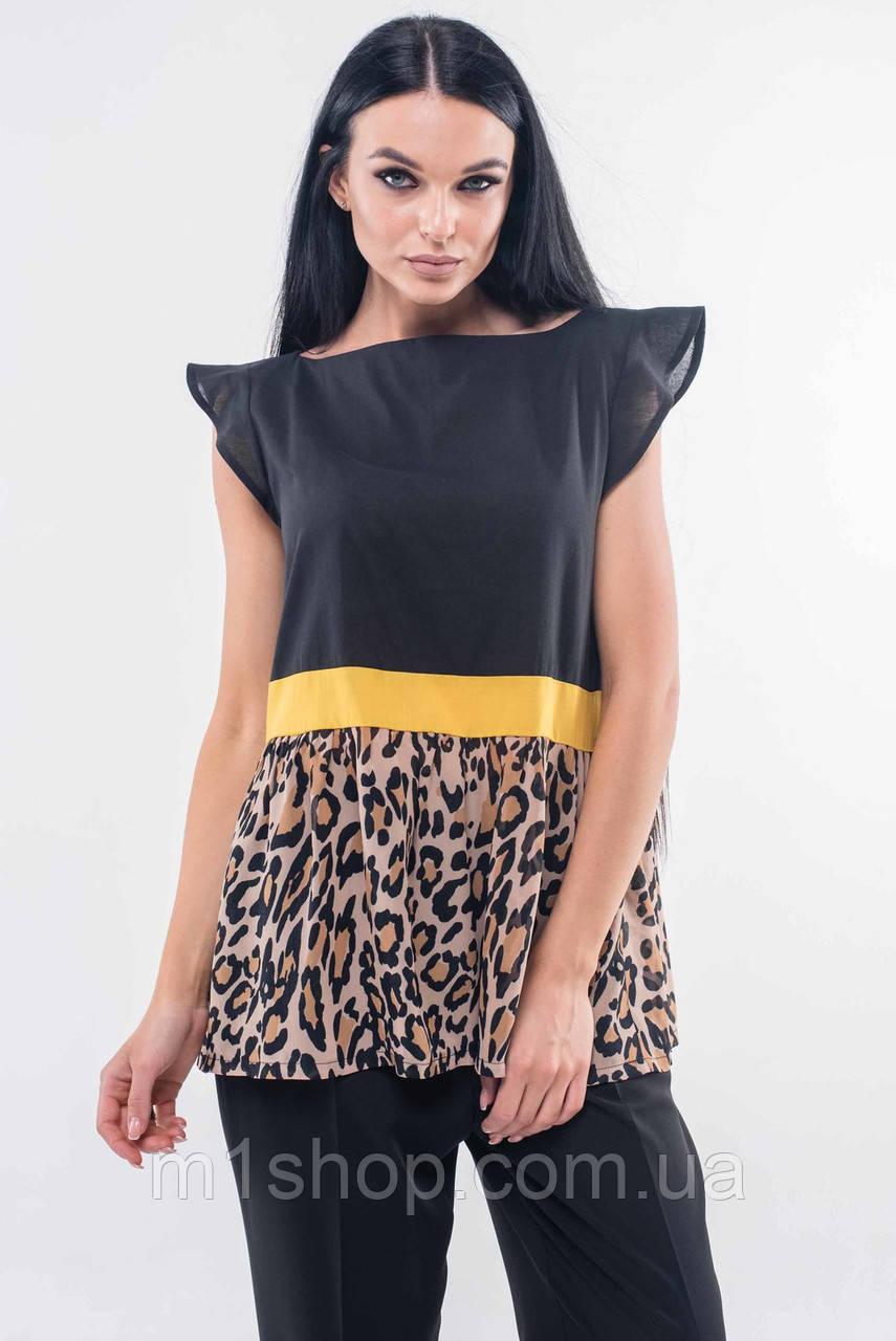 Женская черная блузка с леопардовым принтом (Лео ri)