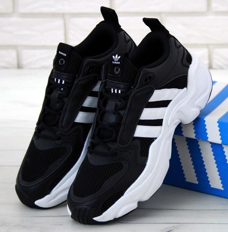Чоловічі кросівки Adidas Consortium x Naked Magmur Runner чорні з білим. Фото в живу. Репліка