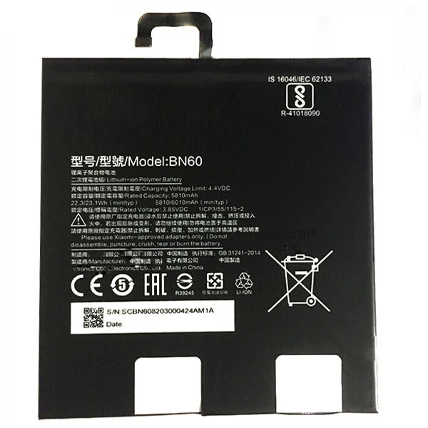 Аккумуляторная батарея BN60 для планшета Xiaomi Mi Pad 4, 3,85 B, 6010 мАч, Li-polymer
