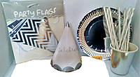 Набор посуды и декора для оформления праздника (серебро)
