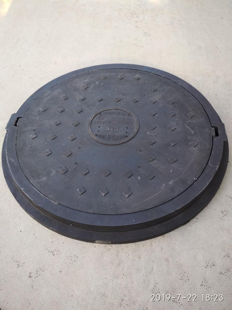 Люк каналізаційний полімерпіщаний легкий збільшеного діаметру чорний без замка А15
