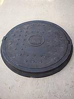 Люк каналізаційний полімерпіщаний легкий збільшеного діаметру чорний без замка А15, фото 1