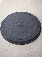 Люк канализационный полимерпесчанный легкий увеличенного диаметра черный без замка А15