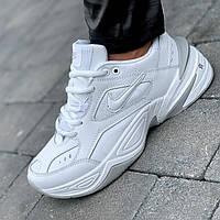 Кроссовки женские кожаные белые на толстой подошве (код 7611)