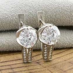 Серебряные серьги Муза размер 16х8 мм вставка белые фианиты вес 4.55 г