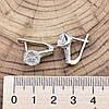 Серебряные серьги Муза размер 16х8 мм вставка белые фианиты вес 4.55 г, фото 2