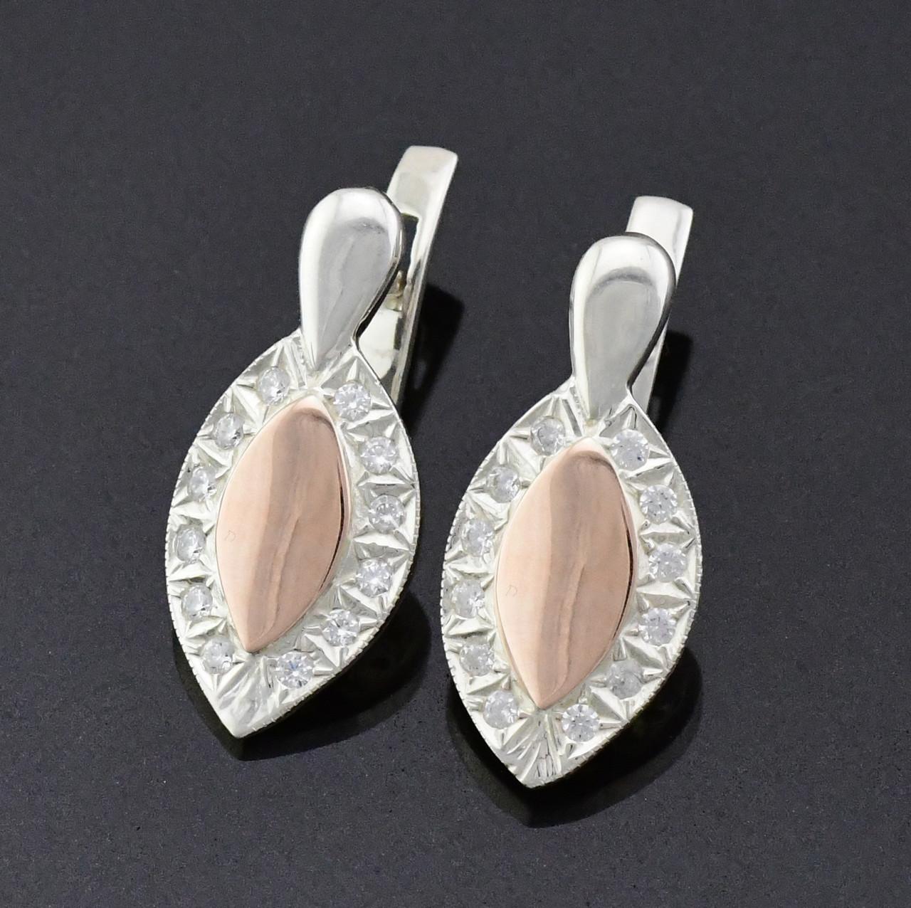 Серебряные серьги с золотыми пластинами 421-с, размер 23*11 мм, белые фианиты, вес 5.06 г