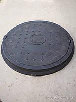 Люк канализационный полимерпесчанный легкий увеличенного диаметра черный без замка, фото 1