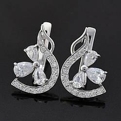 Серебряные серьги Пожелание размер 21х13 мм вставка белые фианиты вес 4.20 г