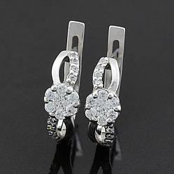 Серебряные серьги Альтегра размер 15х6 мм вставка белые фианиты вес 3.04 г