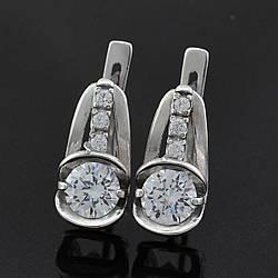 """Серебряные серьги """"Квебек"""", размер 17*8 мм, вставка , белые фианиты, вес 4.18 г"""