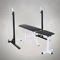 Лавка регульована для жима (до 250 кг) зі Стійками (до 200 кг). Штанги пряма, w-подібна та гантеліі, фото 2