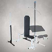 Лавка регульована для жима (до 250 кг) зі Стійками (до 200 кг). Штанги пряма, w-подібна та гантеліі, фото 3