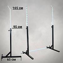 Лавка регульована для жима (до 250 кг) зі Стійками (до 200 кг). Штанги пряма, w-подібна та гантеліі, фото 4