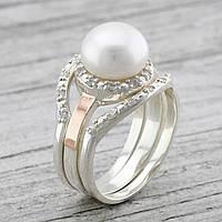 Серебряное кольцо с золотом Лисма вставка искусственный жемчуг вес 6.86 г размер 19
